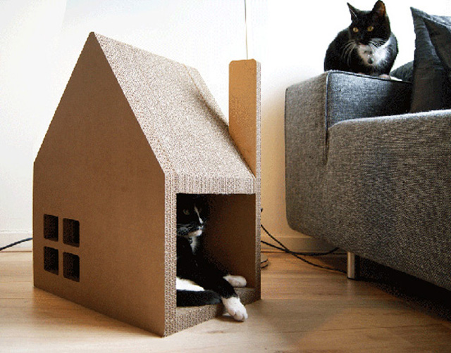 Small house for a cat of plywood