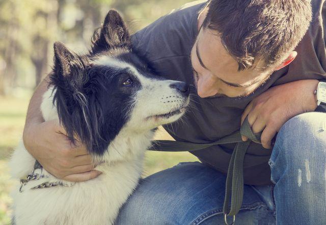 Хозяин обнимает пса