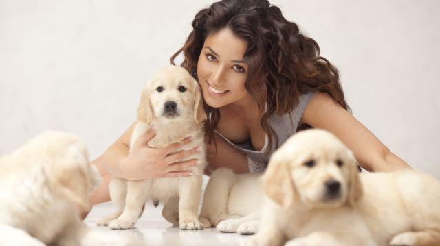Женщина обнимает щенков
