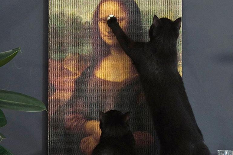 Кот царапает картину